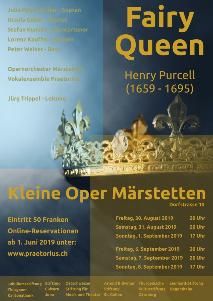Flyer The Fairy Queen, Opernaufführung in Märstetten