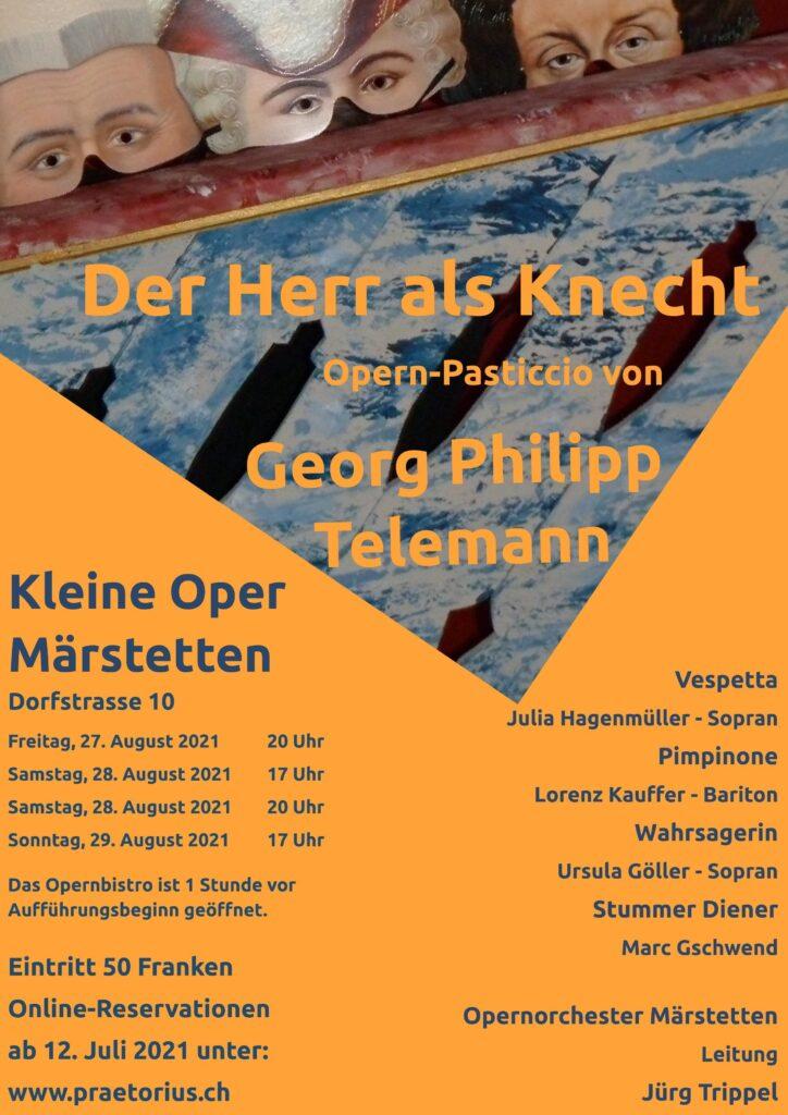 """Flyer Opern-Pasticcio """"Der Herr als Knecht"""" von Georg Ph. Telemann"""